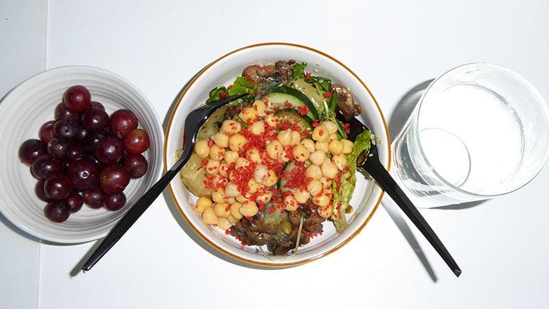 Grapes, Salad, Water