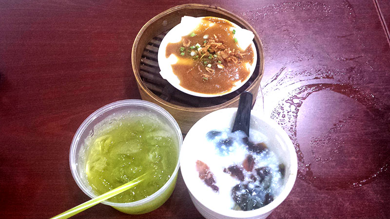Sugar cane juice, Century egg porridge, Chee cheong fun