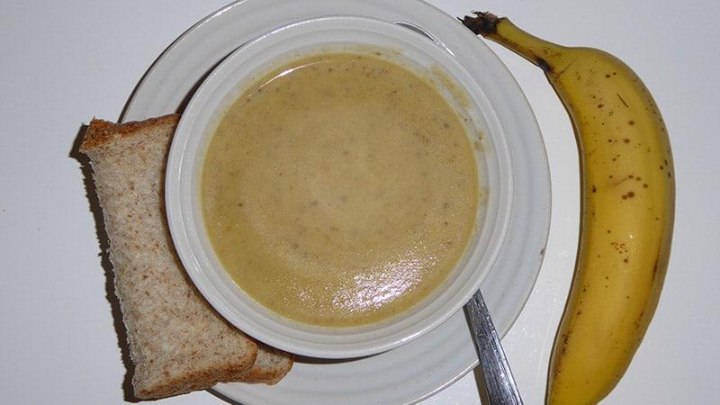 Mushroom soup, Wheat bread, Banana