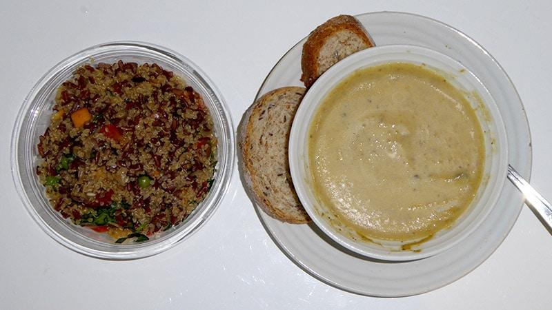 Dinner part 2: Quinoa rice salad and Mushroom soup