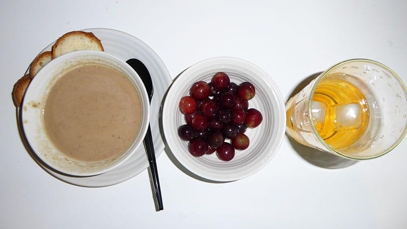 Apple and guava soup, Grapes, Tea