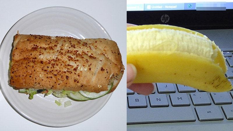 Veggie patty and Banana