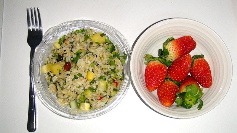 Rice salad and Strawberries