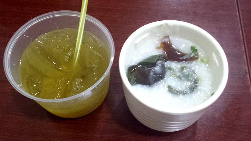 Sugar cane juice and Century egg porridge