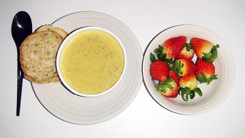 Mushroom soup and Strawberries