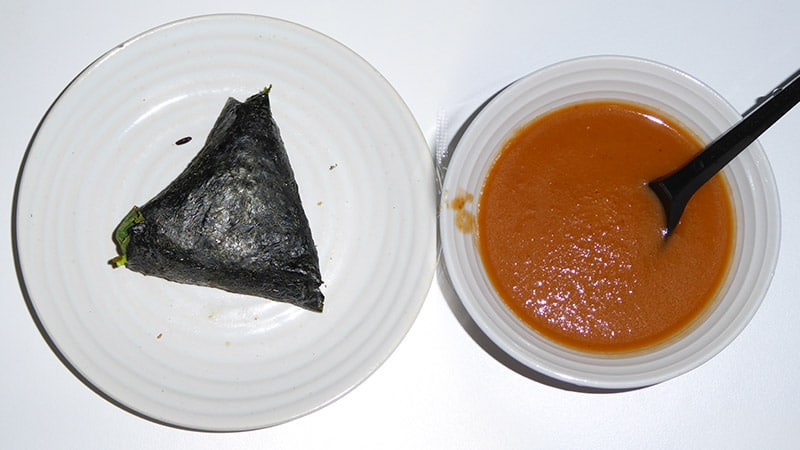 QQrice and Grilled red pepper and tomato soup