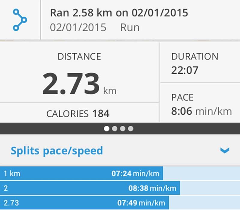Jog: 2.73km, 184 calories burned