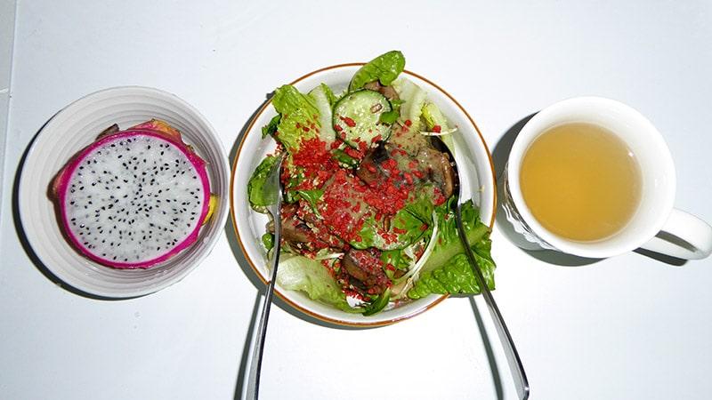 Dragon fruit, Salad, Ginger tea