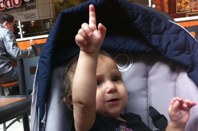 Baby pointing finger
