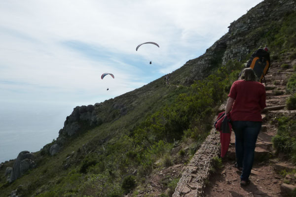 Paragliders launching off Lion's Head (Cape Town)