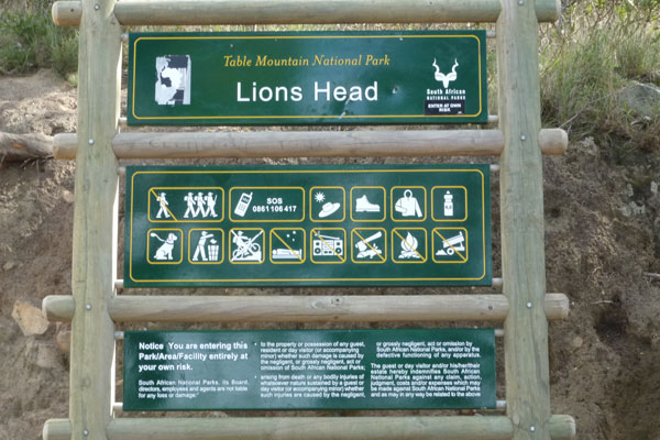 Signboard for Lion's Head in Cape Town