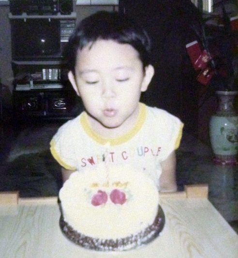 1987: Blowing candles