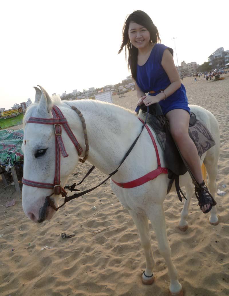 Celes horseback riding at Elliot's Beach