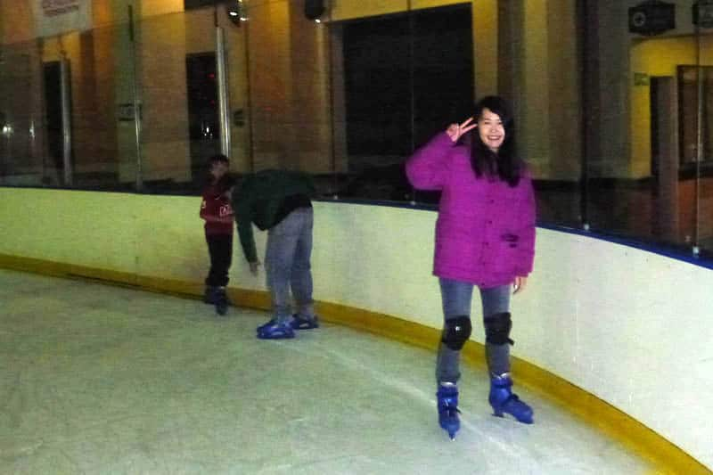 Celes ice skating at Cape Town, South Africa