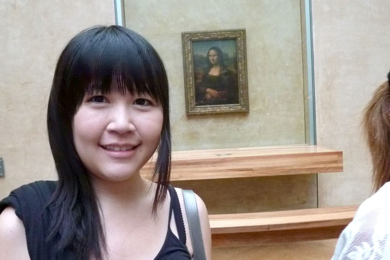 Celes before the Mona Lisa Painting at Louvre (Paris, France)