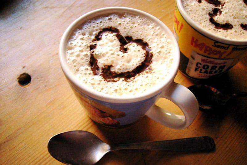 Coffee with a heart shape