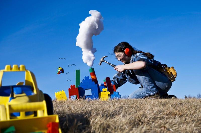 Constructing a lego set on a field