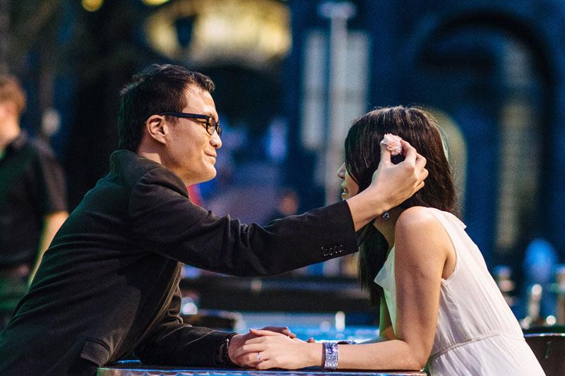 Engagement shoot: Ken fixing my flower hair clip