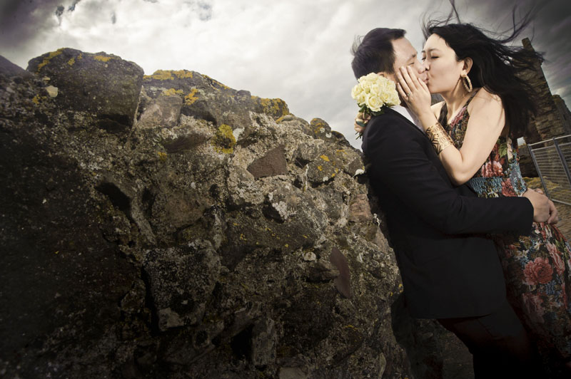 Engagement shoot: At the top of Tantallon Castle