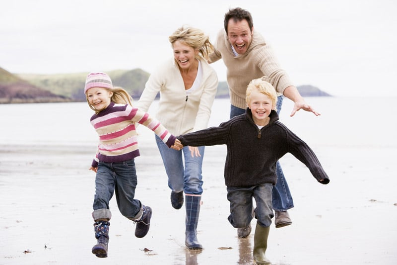 Family running, having fun