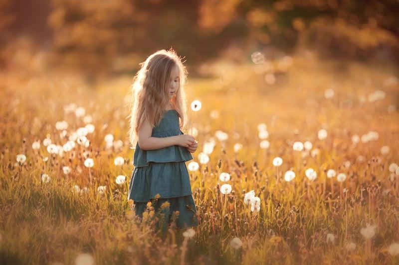 Girl alone in field