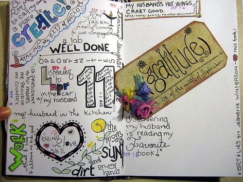 An artistic gratitude journal made by miscellaneaarts (A peek inside)