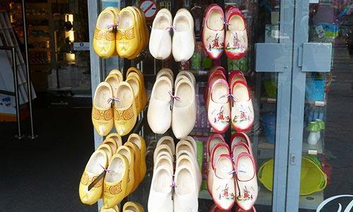 Clogs in a souvenir shop in Amsterdam Central