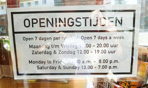 Opening Hours in a Cafe in Amsterdam
