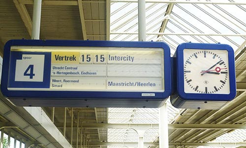 At train station in Holland - Arrival time of the next train