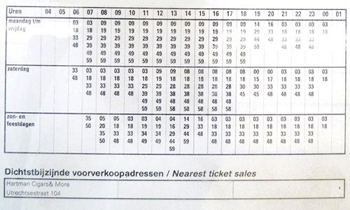Typical Tram Schedule in Holland