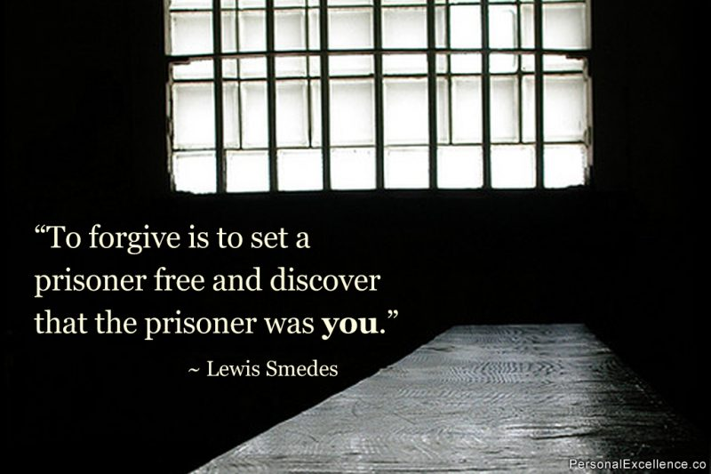 "Inspirational Quote: ""To forgive is to set a prisoner free and discover that the prisoner was you."" ~ Lewis Smedes"