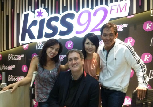 At Kiss92 FM Recording Studio with Maddy, Jason, Myself, and Arnold