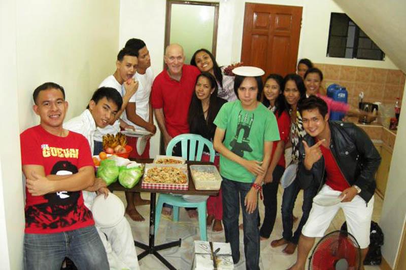 Larry with Filipino locals