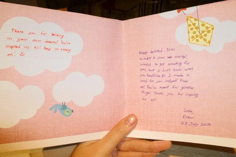 SG PE Readers Meetup (Jul 27, 2014): Drew's handmade birthday card