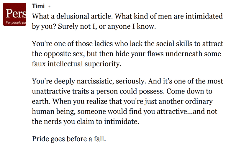 """Negative blog comment to article """"How I Used to Be Afraid of Intimidating Men and Why It Does Not Faze Me Anymore"""""""
