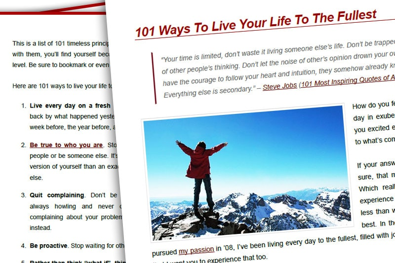 PEBook: 101 Ways to Live Your Life to the Fullest