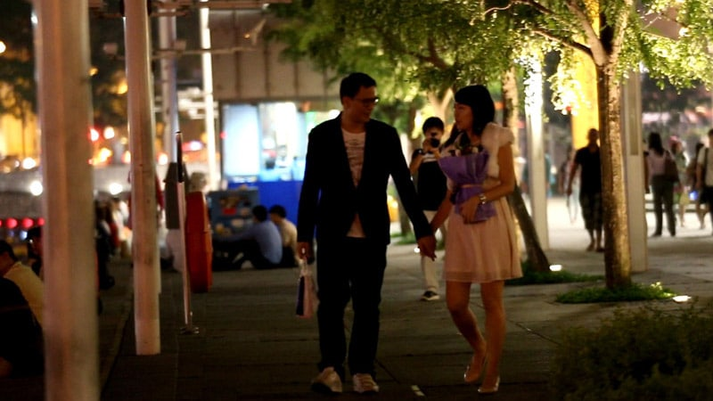 Ken and I walking along Singapore River in Clarke Quay