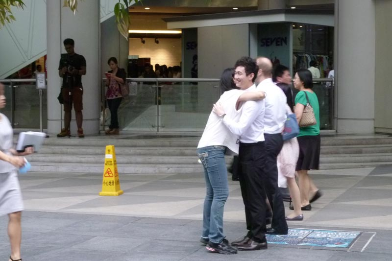 Celes hugs a nice Chinese guy