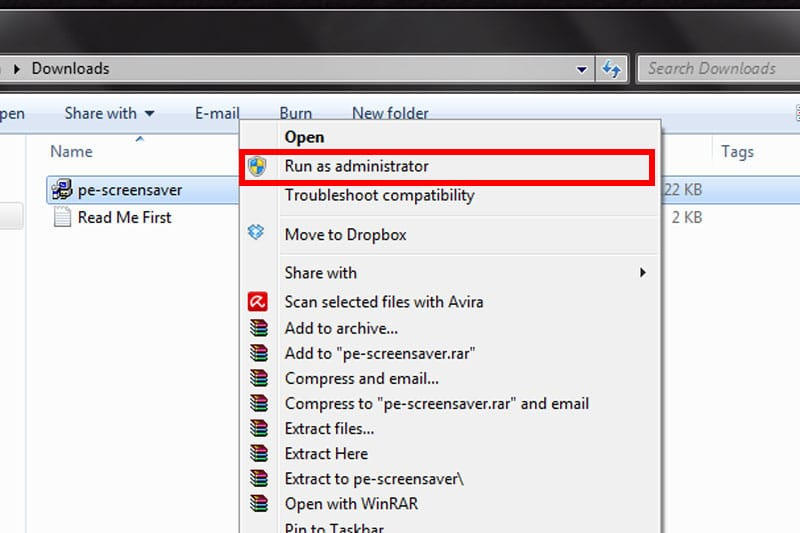 Installing the screensaver - Run as Administrator
