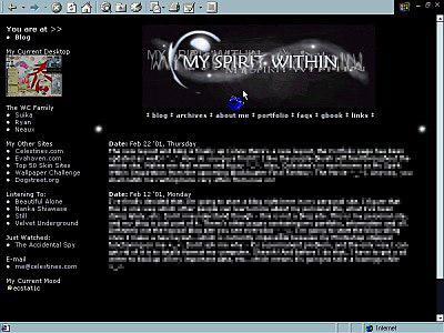 Screenshot of My Spirit Within, my personal blog
