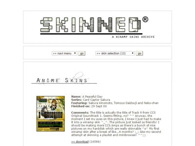 Screenshot of Skinned, my winamp skins site