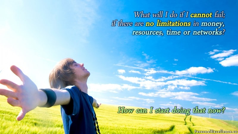 """[No Limitations] Wallpaper: """"What would I do if I cannot fail; if there are no limitations in money, resources, time or networks? How can I start doing that now?"""""""