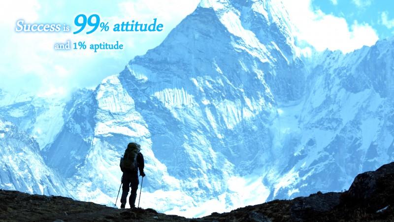 "[Success] Wallpaper: ""Success is 99% attitude and 1% aptitude."""