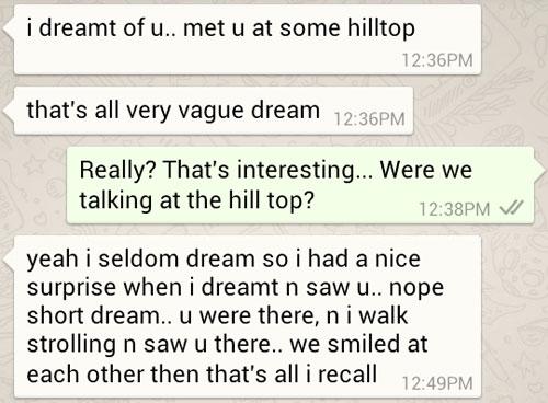 Ken's dream of me at some hilltop
