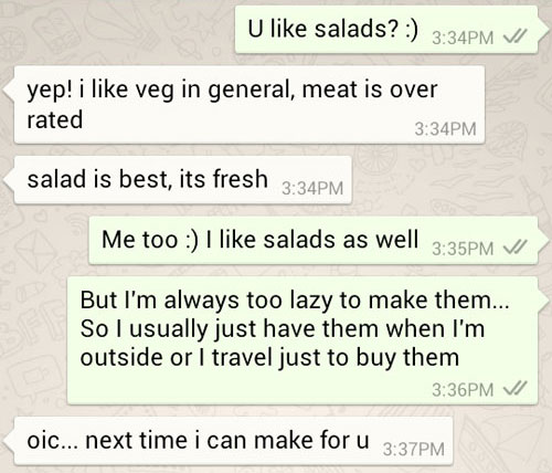 Ken suggesting to make salads for me next time