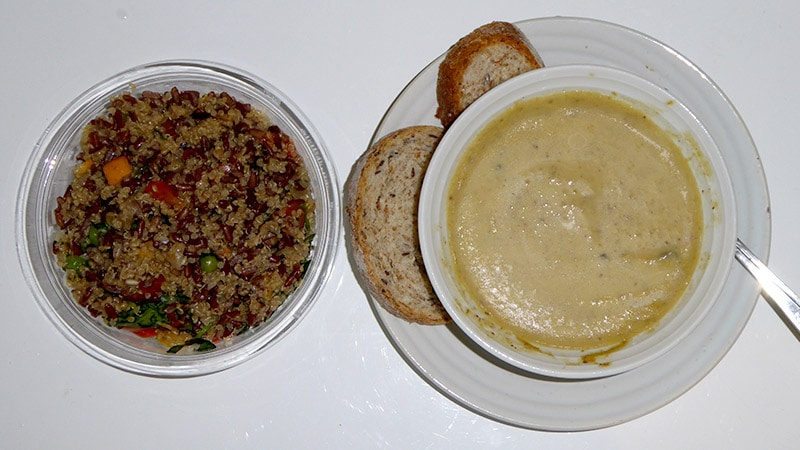 Dinner part 2: Quinoa rice salad and Mushroom soup