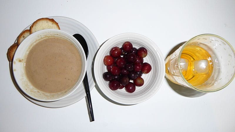 Apple and guava soup, Grapes, Tea