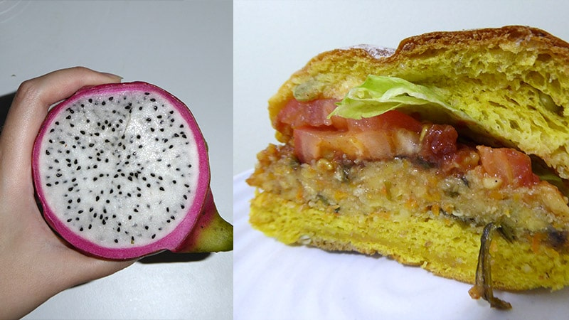 Dragon fruit and Tofu burger