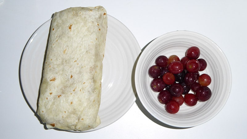 Veggie patty wrap and Grapes