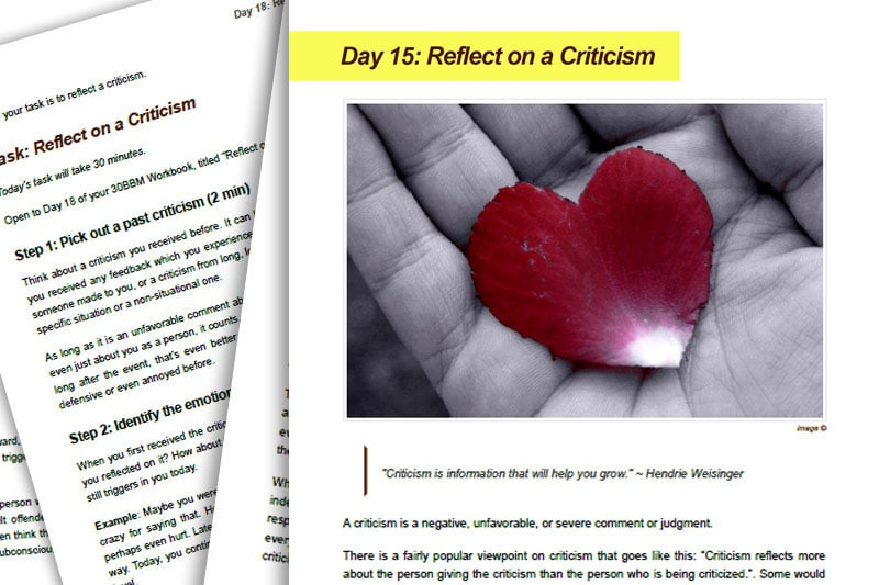 30BBM Guidebook: Reflect on Criticism